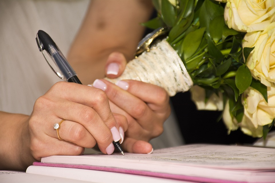 Signature book in a wedding