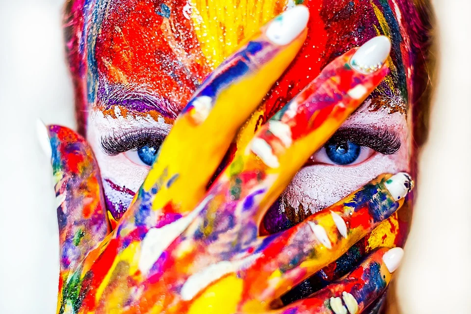 Woman with paint all over her face