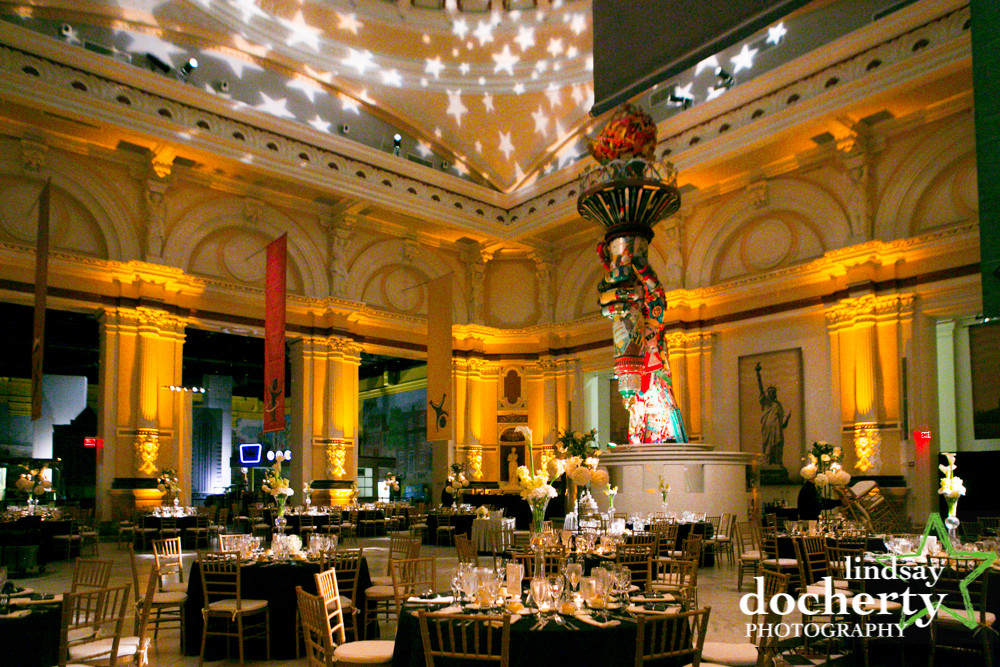 Banquet hall with star shaped lights above
