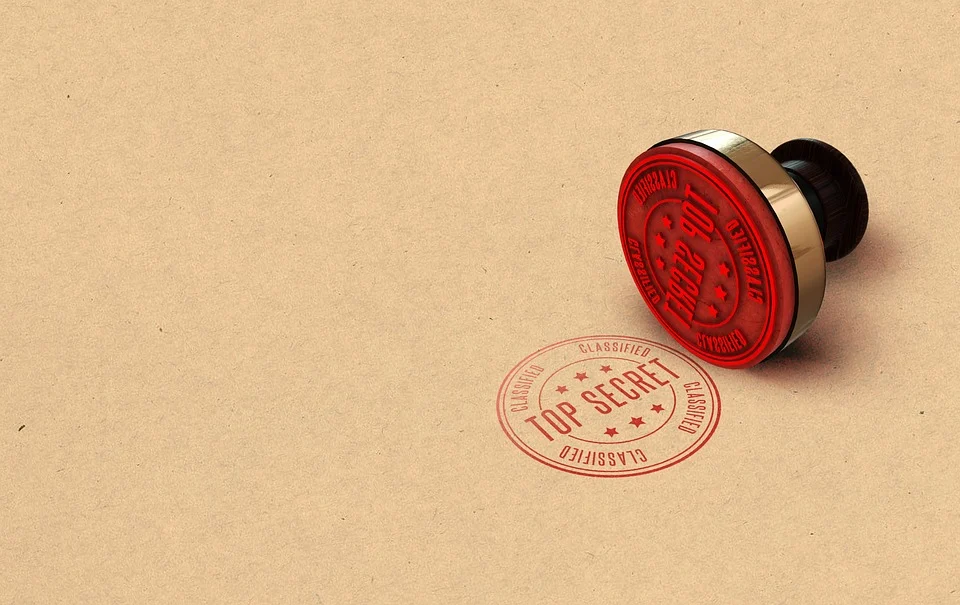 Custom stamp with a top secret red logo