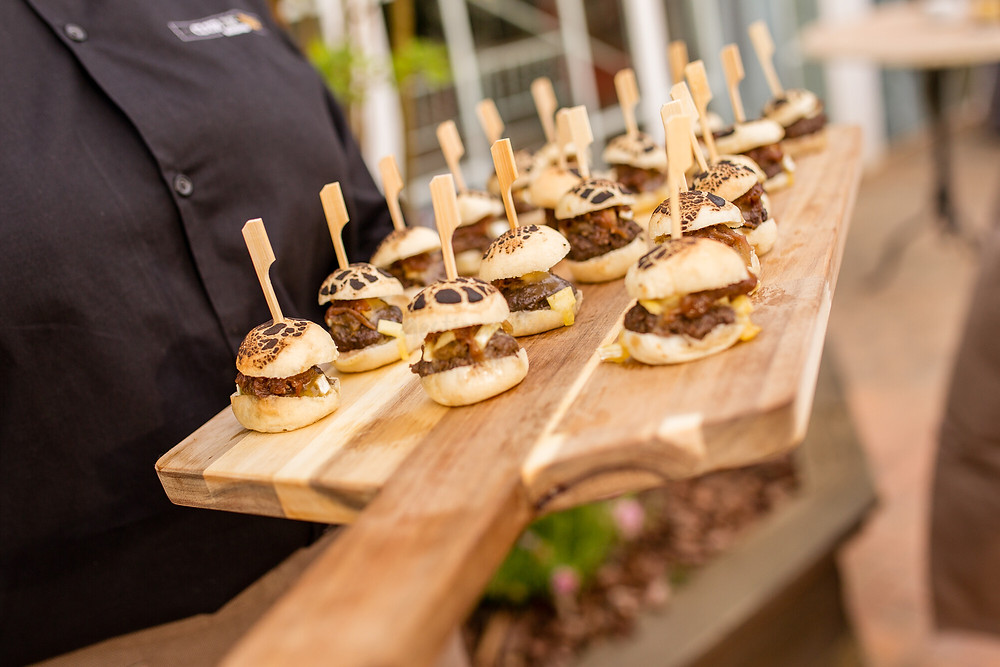 Catering services showcasing small burgers