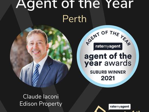 Claude Iaconi Wins RateMyAgent's 2021 Perth - Property Sales Award