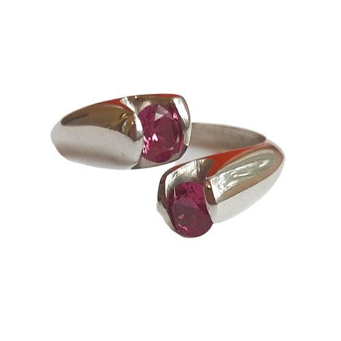 """Two Stone Imitation Ruby Ring"""