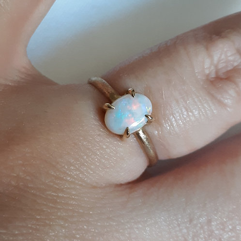 """Australian White Opal and 14k Solid Gold Claw Ring"""