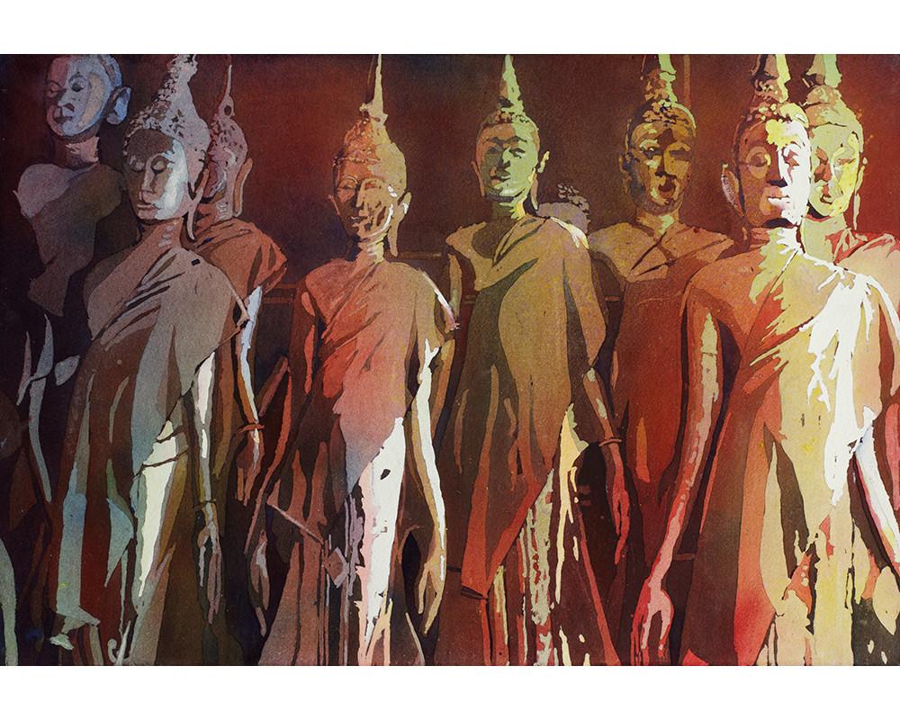 Buddha Statues- Laos by Ryan Fox