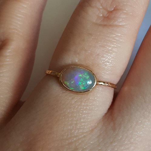 """""""Black Opal and 14k Solid Gold Ring"""""""