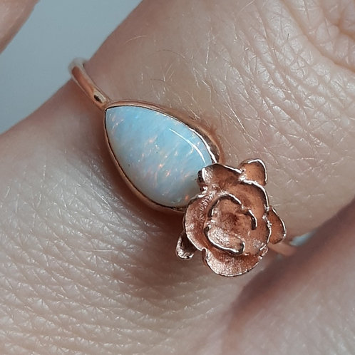 """Solid 14k Rose Gold Flower and Opal Ring"""