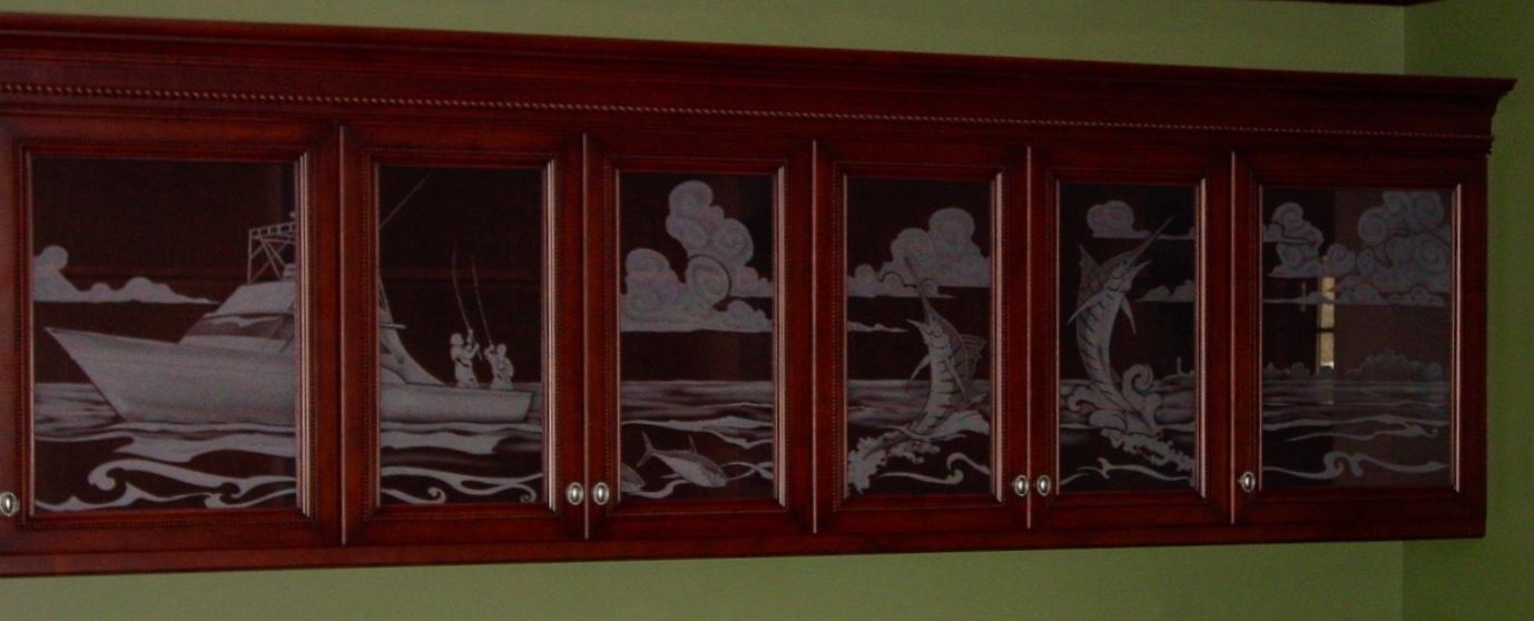sandblasted boat cabinets