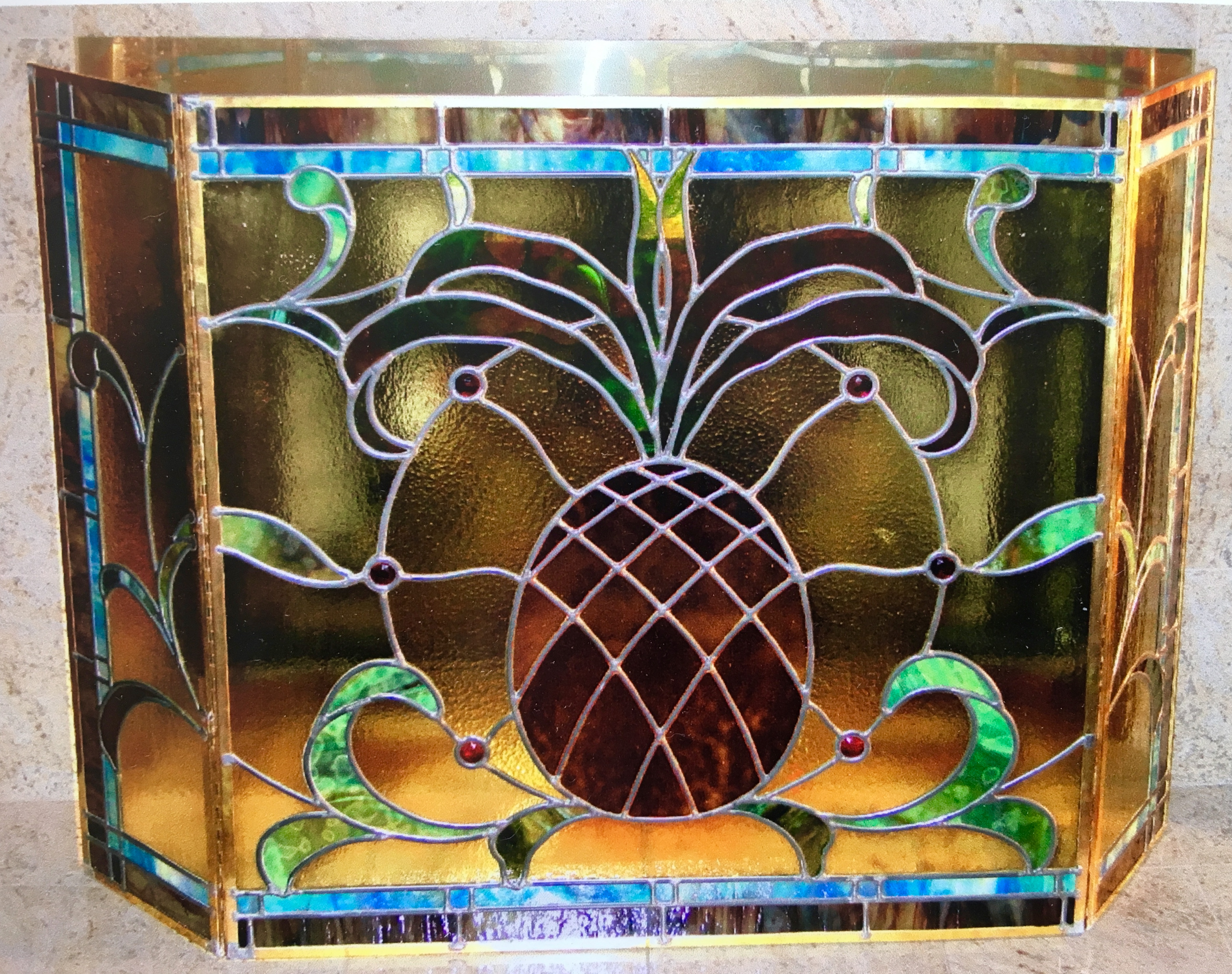 pineapple fireplace screen