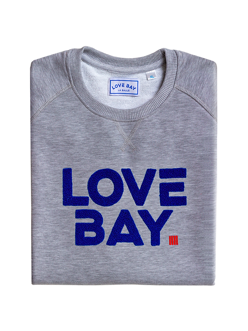 Sweat unisexe gris LOVE BAY