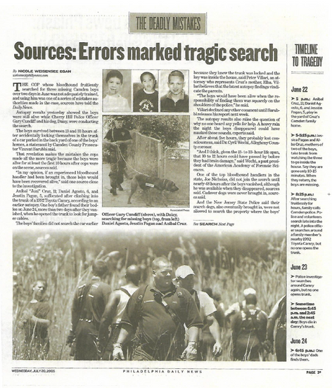 Philadelphia Daily News - Missing Three Boys Cover Story Exclusive