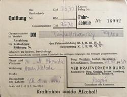 Fahrschule DDR Quittung