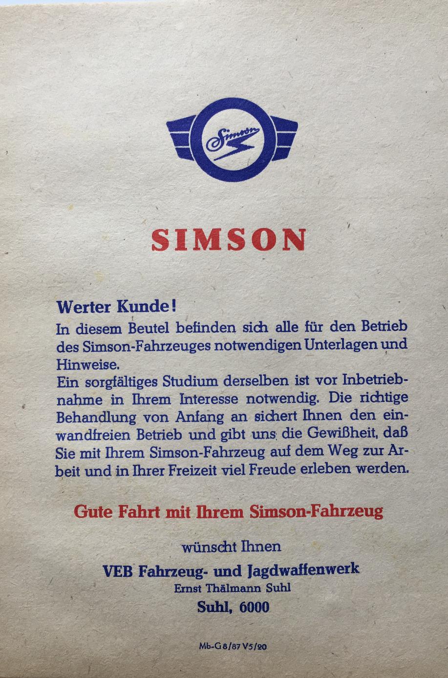 Simson Teile