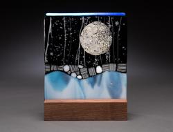 "6"" Moon in mahogany stand"