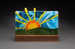"10"" Sun in mahogany stand"