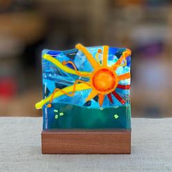 "6"" Sun in mahogany stand"
