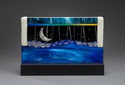 "10"" Moon in mahogany stand"