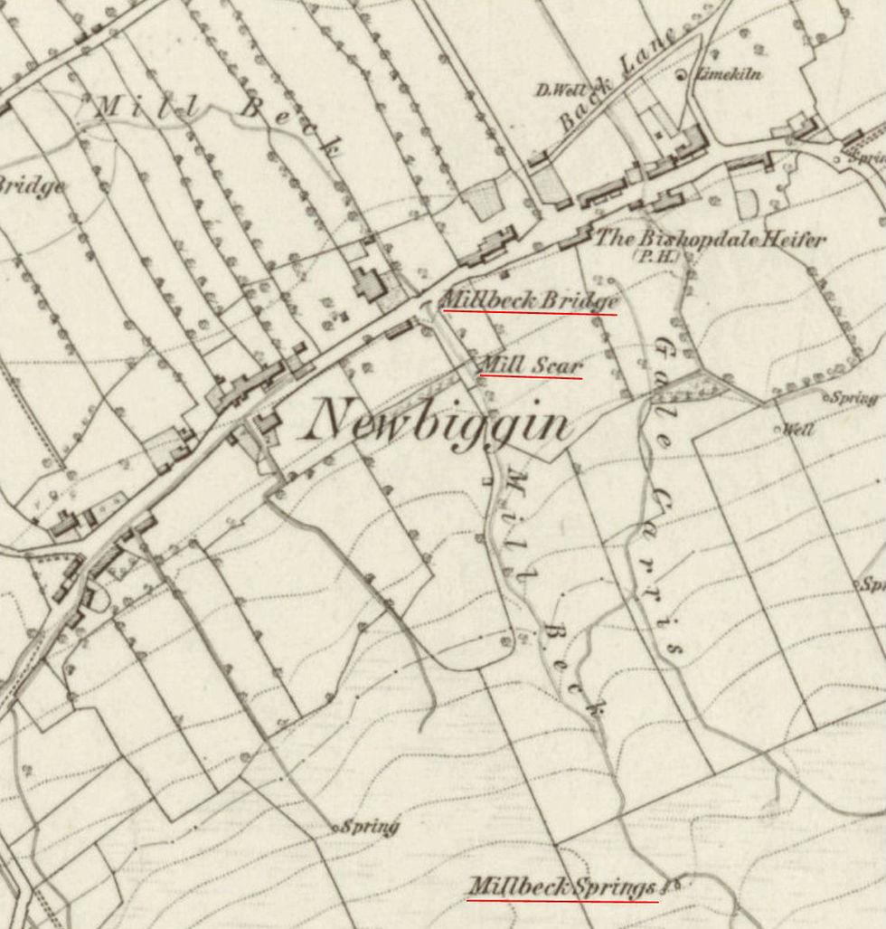 Mill Beck, Newbiggin O.S. 1856 Annotated