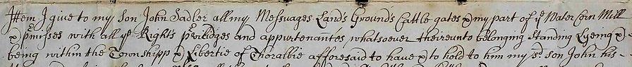 William Sadler - Will, 1726