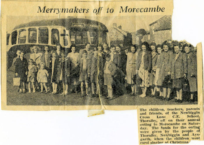 Cross Lanes School trip to Morecambe, 1953