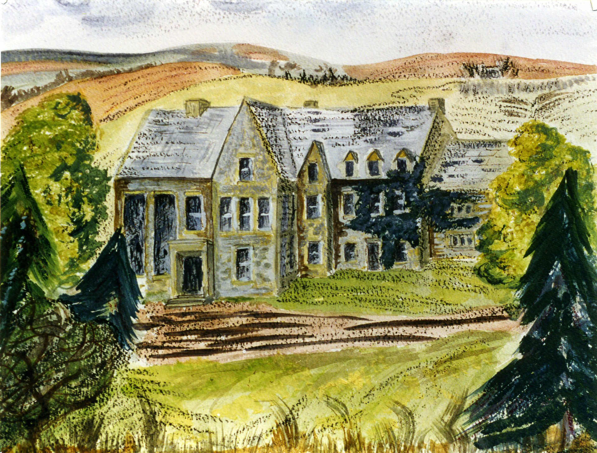 'Kidstones School', by pupil Janet Forsey 1940s. The school was housed in The Rookery buildings.
