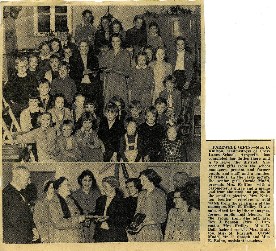 'Fairwell Gifts' to Mrs Knifton, 1958