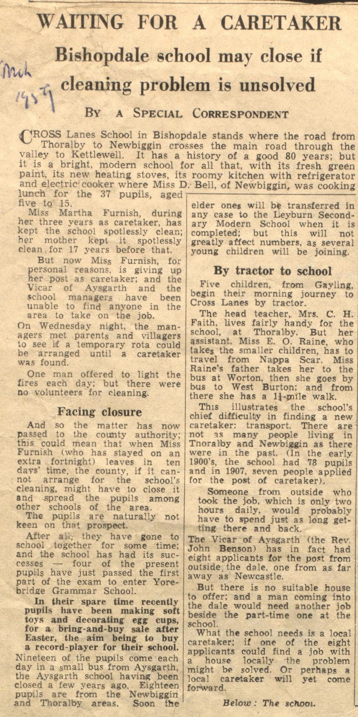 Cross Lanes School Caretaker problem, 1959