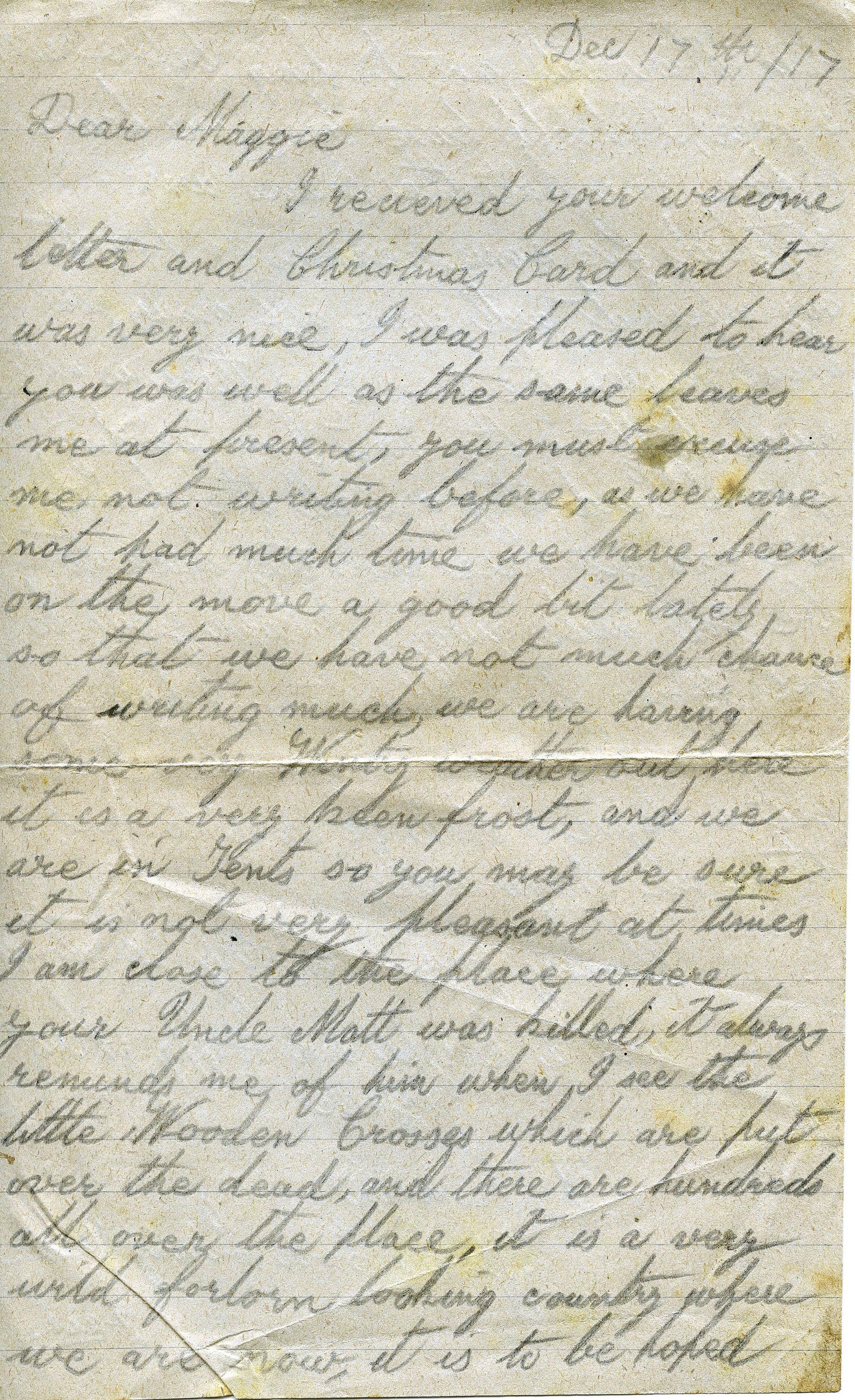 Letter from John Heseltine of Thoalby, 1917