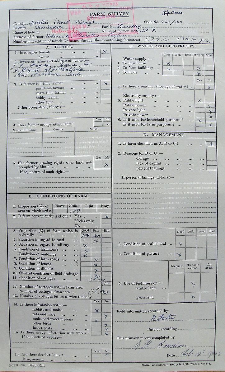 Frank Snaith, Holmeside Farm, Main Farm Survey Form