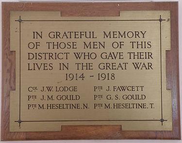 War Memorial Plaque 1914-1918