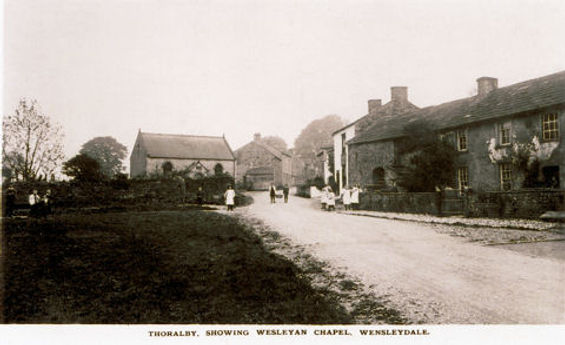 Thoralby village green, Wesleyan Chapel and Bootmakers shop