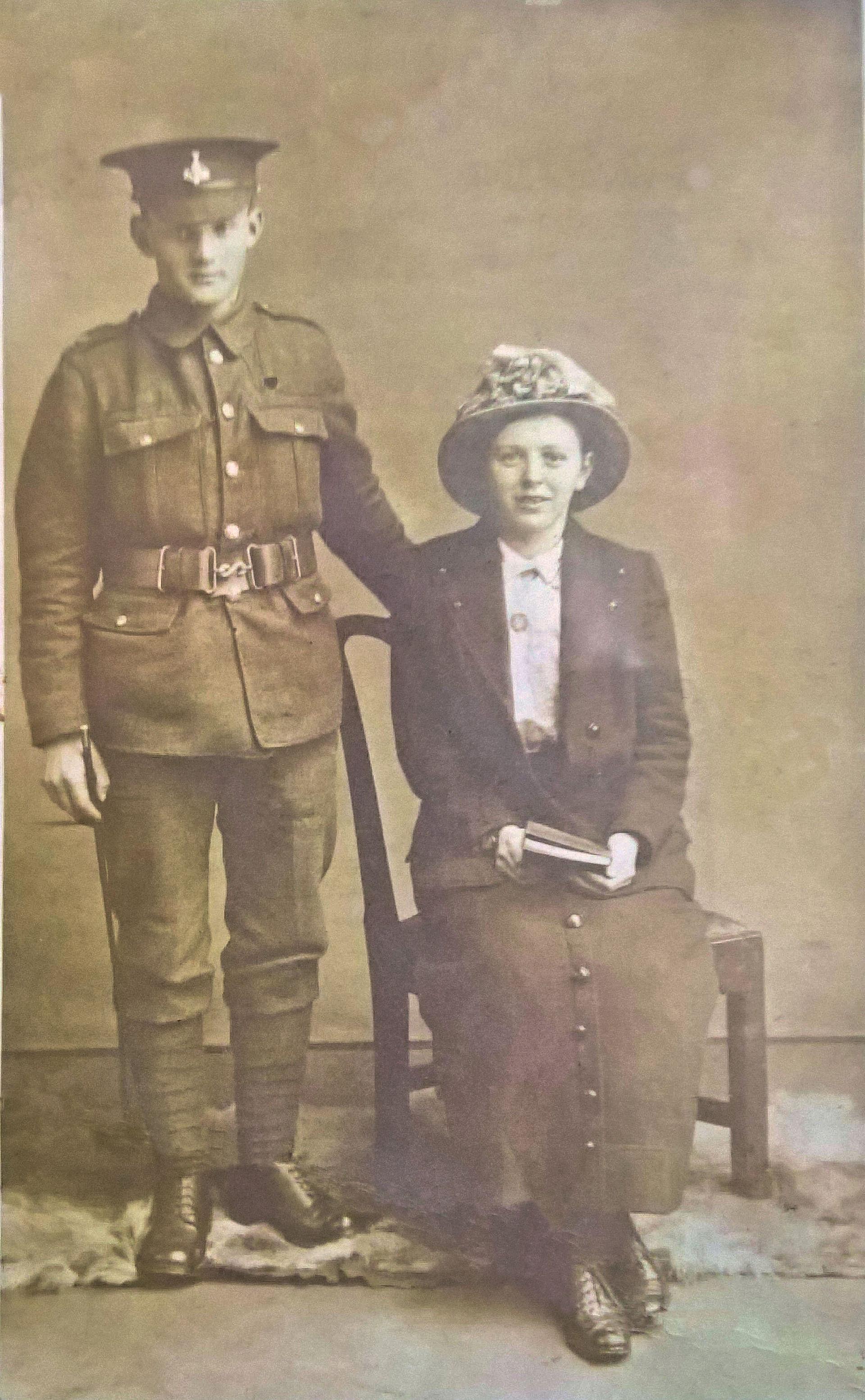 Harold Binks & Hannah Paley  on their wedding day, May 1916