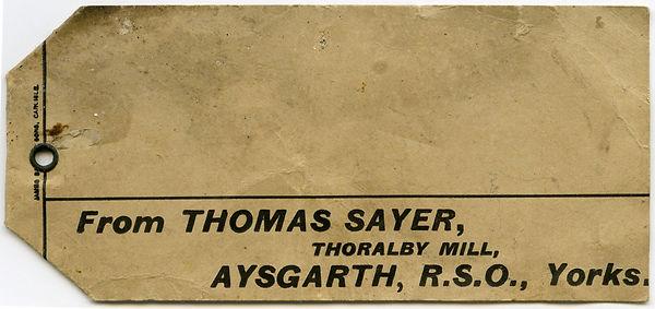 Thoralby Mill, Thomas Sayer, Miller - Sack Label