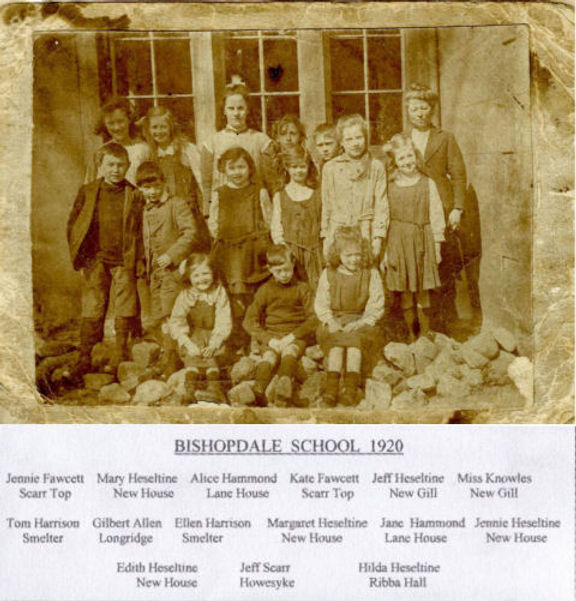 Bishopdale School, class photograph 1920, pupils and teacher Miss Knowles. Coutesy of DCM, Hawes.
