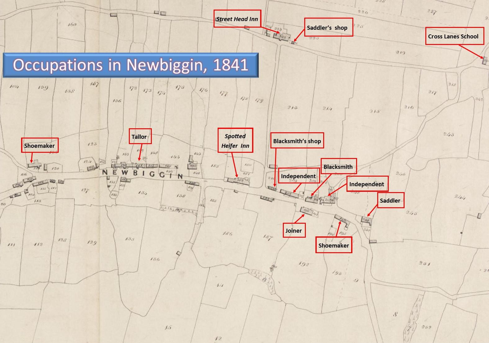 Occupations in Newbiggin 1841