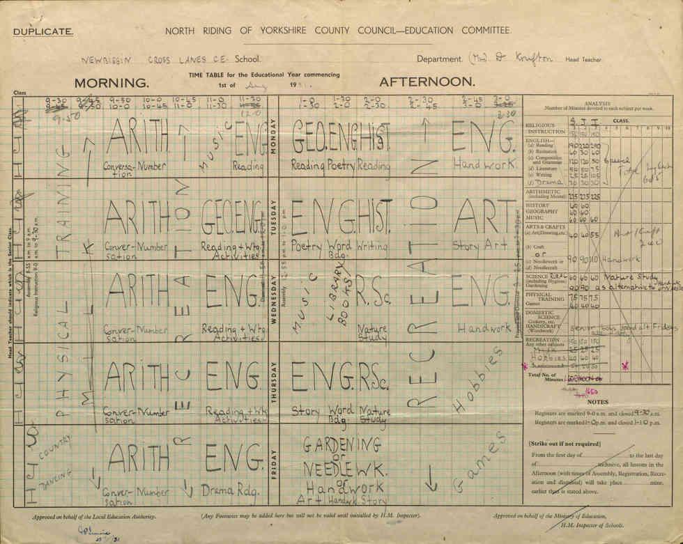 Senior Timetable - 1951