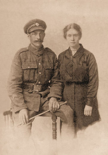 Private William Henry Metcalfe & Annie E. Wooler on their wedding day March 1917, c. of Alan Metcal