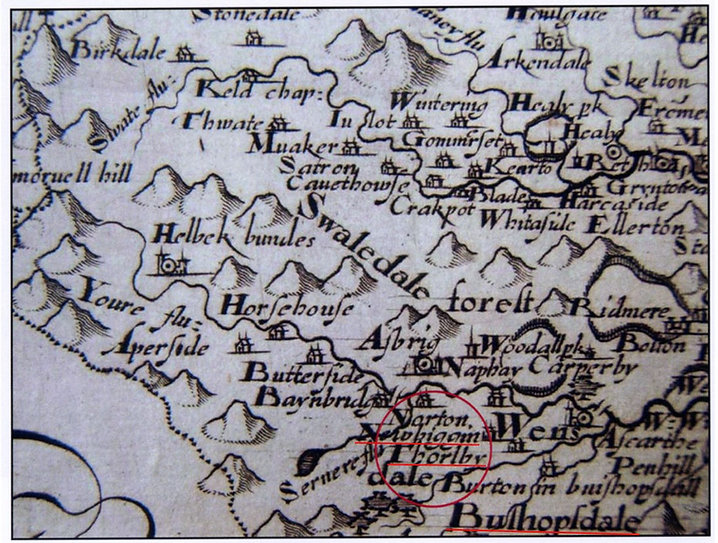 Camdens Map, 16th-17th C.: Thoralby, Newbiggn and Bishopdale