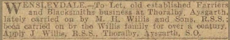 Blacksmiths to let Jul 1926 - Leeds Merc