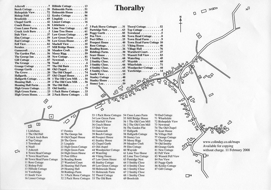 Thoralby Village House Names, 2008