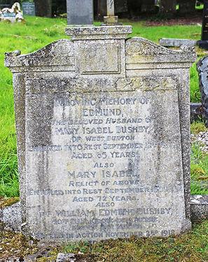 Wm Edmund Bushby, headstone, Aysgarth churchyard, courtesy of Pip Land.