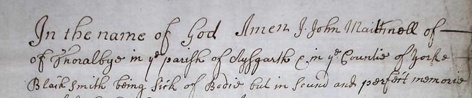 John Matchell - Will - 1705