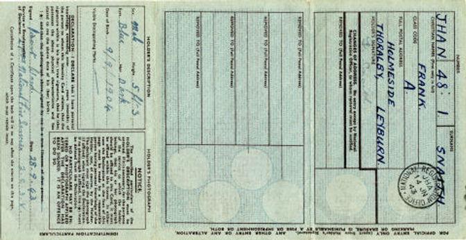 Frank Snaith 1939 ID Card B