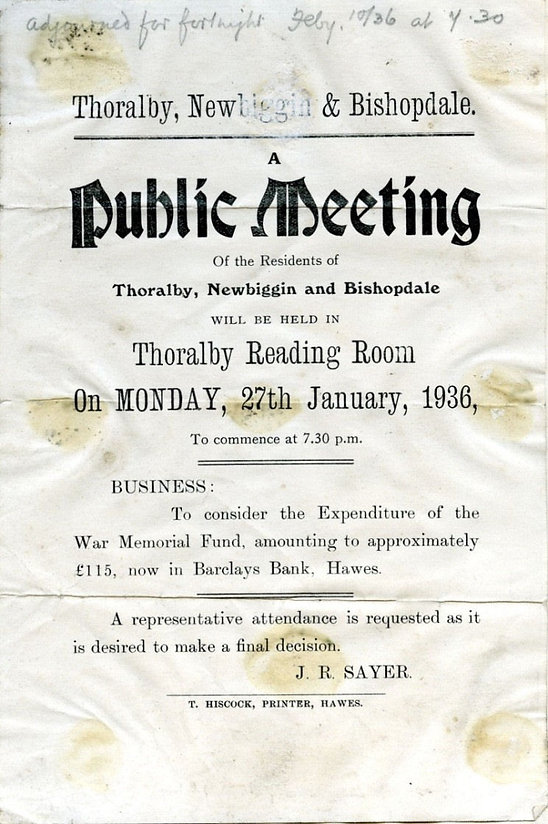 Poster advertising Public Meeting: residents of Thoralby, Newbiggin & Bishopdale, 27 Jan., 1936 