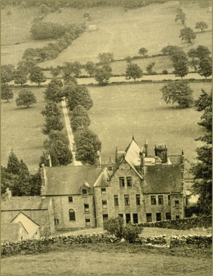 Looking at the house and treelined drive from Scar Top. Courtesy of Rowly & Margaret Fawcett.