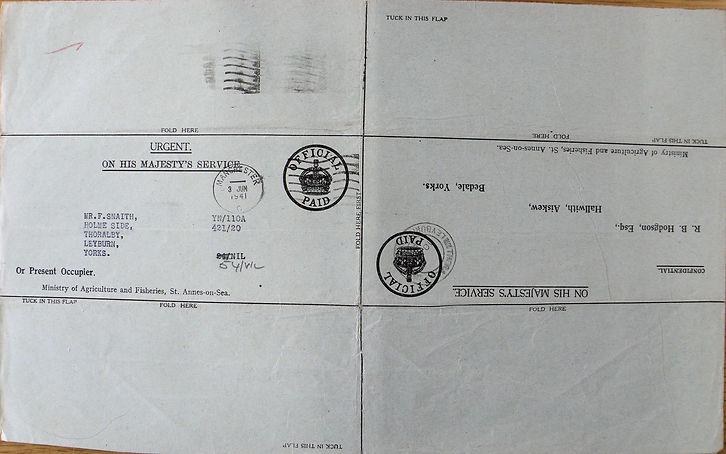 Frank Snaith, Holmeside Farm Reverse of Agricultural Census Form