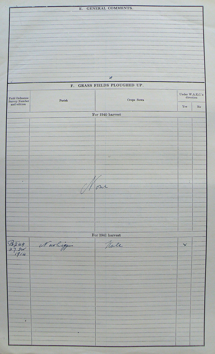 Frank Snaith, Holmeside Farm Reverse of main Farm Survey Form