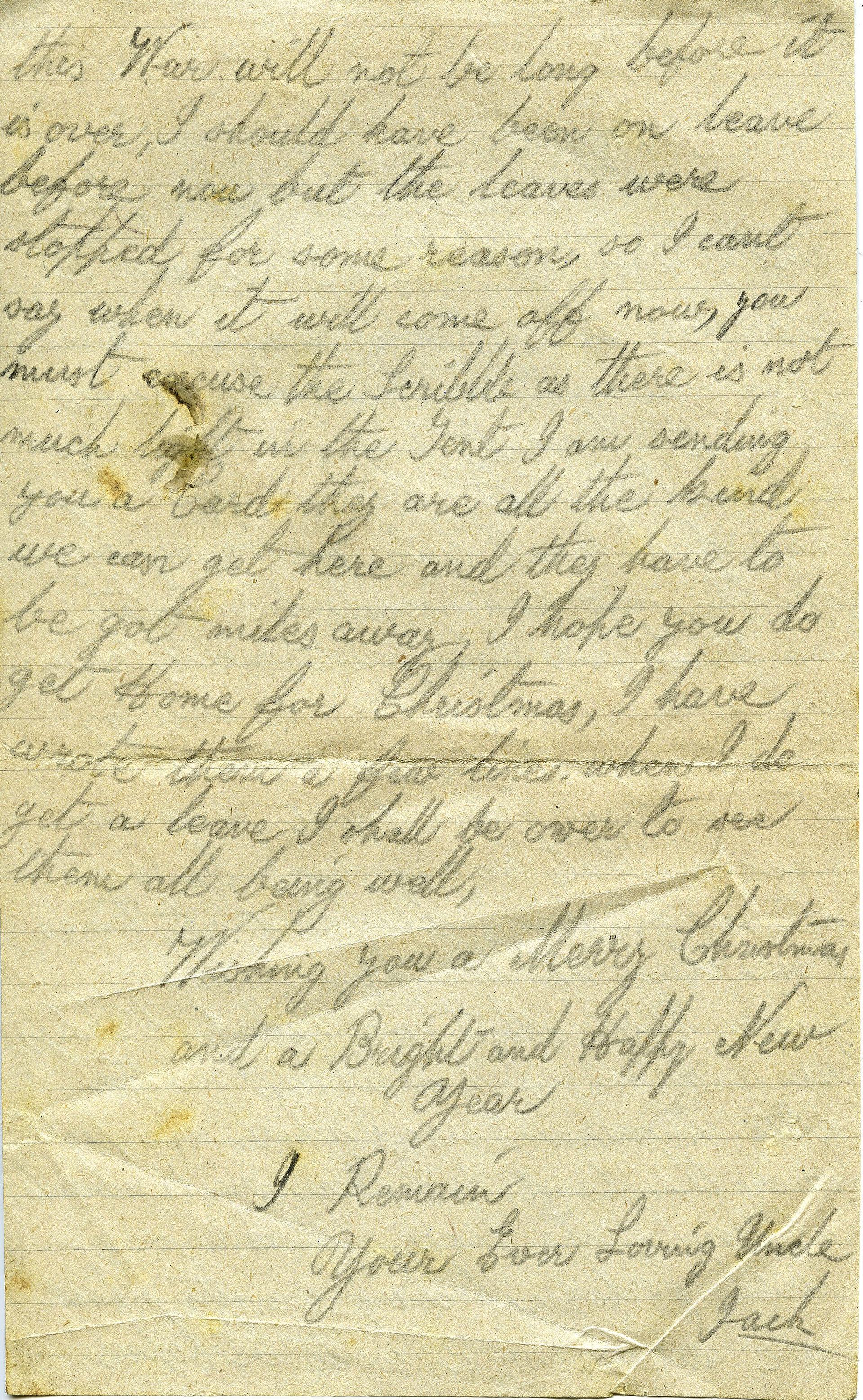 Letter from John (Jack) Heseltine of Tho