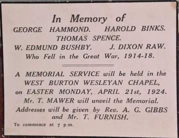 Name Plaque of the Fallen, West Burton Chapel