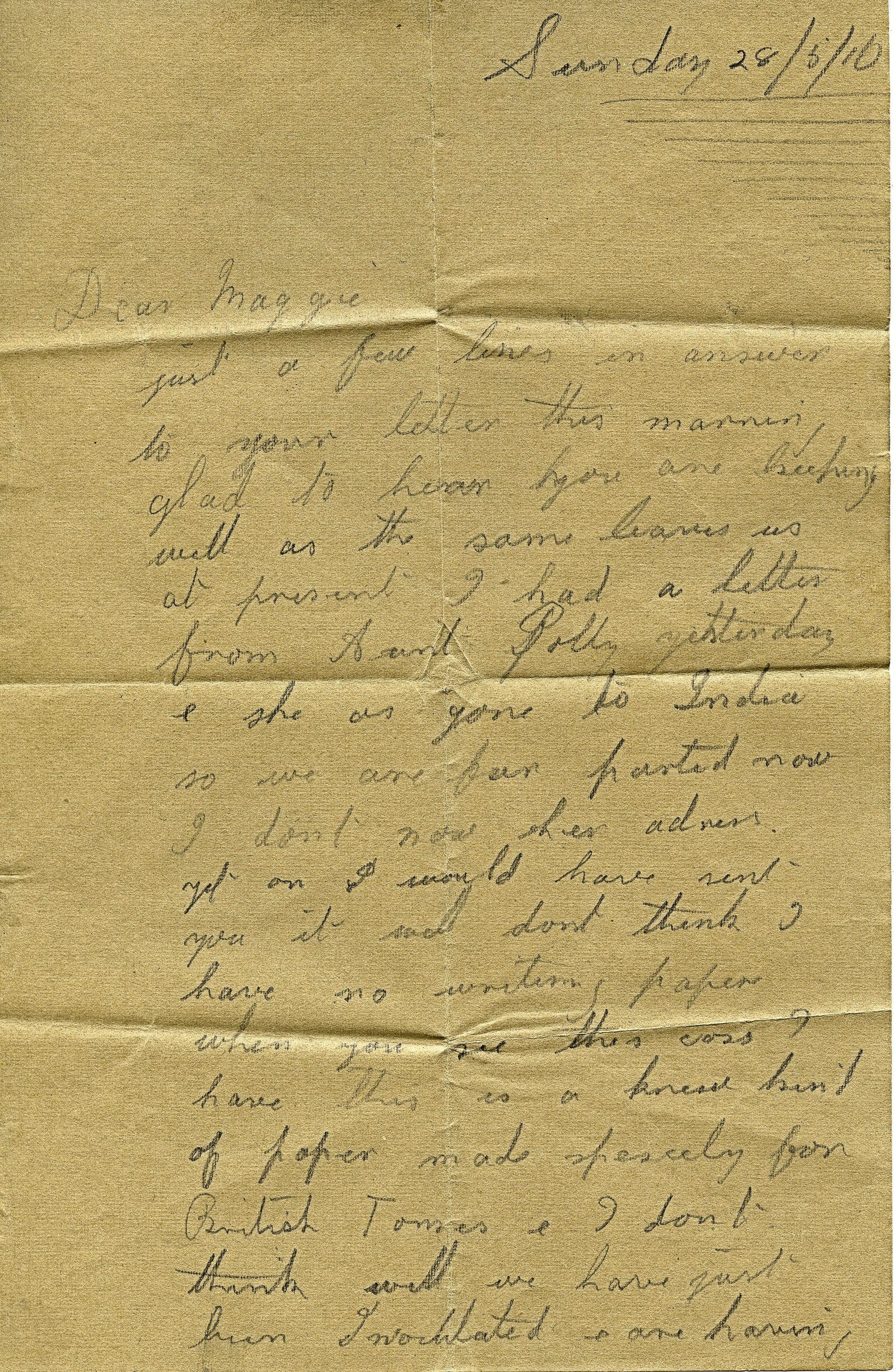 Letter from Matt. Heseltine of Thoralby, 1916